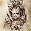 Tattoo art, sketch of a machine gears and skull — Stock Photo