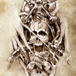 Tattoo art, sketch of a machine gears and skull — Stock Photo #9745584