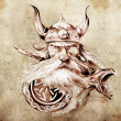 Tattoo art, sketch of a viking warrior, Illustration of an ancie — Stock Photo