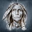 Sketch of tattoo art, portrait of american indian head — Stock Photo #9745602