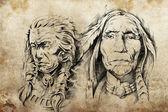 Tattoo sketch of American Indian elders — Stock Photo