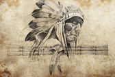 Tattoo sketch of American Indian tribal chief warriors — Stock Photo