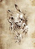 Sketch of tattoo art, monster heads under skin — Stock Photo