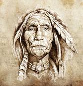 Boceto del arte del tatuaje, retrato de cabeza de indio americano — Foto de Stock