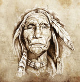 Sketch of tattoo art, portrait of american indian head — Stok fotoğraf