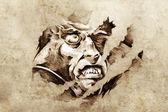 Sketch of tattoo art, vampire in the night — Stock Photo