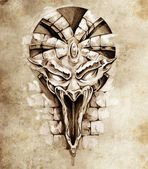 Sketch of tattoo art, rock gargoyle mask — Stock Photo