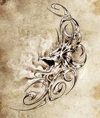 эскиз tatto искусства, декоративные средневековый дракон — Стоковое фото