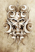Sketch of tattoo art, monster design with tribal illustrations — Stock Photo