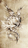 Sketch of tattoo art, stylish dragon illustration — Stock Photo