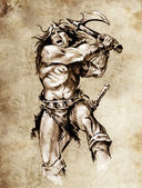 Sketch of tattoo art, warrior fighting with big axe — Stock Photo