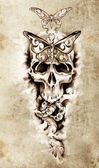 Sketch of tattoo art, skull, death concept illustration — Stock Photo