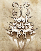 Sketch of tattoo art, skull mask with tribal design — Stock Photo