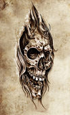 Sketch of tattoo art, skull head illustration, vintage style — Stock Photo