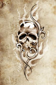 Sketch of tattoo art, skull devil, decorative vintage illustrati — Stock Photo