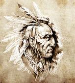 Schizzo dell'arte del tatuaggio, illustrazione di capo indiano americano — Foto Stock