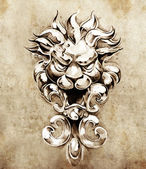 Sketch of tattoo art, gargoyle lion illustration — Stock Photo
