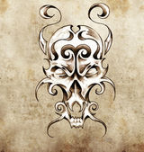 Sketch of tattoo art, monster mask with decorative elements — Stock Photo