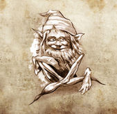 Sketch of tattoo art, funny sitting gnome — Stock Photo