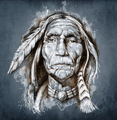 Sketch of tattoo art, portrait of american indian head — Stockfoto
