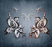 Duality concept tattoo, two fairy on blue vintage background — Stock Photo