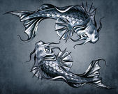 Duality concept tattoo, two Japanese goldfish on blue vintage b — Stock Photo
