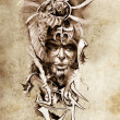 Tattoo art, sketch of a japanese warrior in vintage style — Stock Photo #9942572