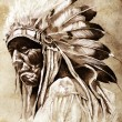 Stockfoto: Sketch of tattoo art, indihead, chief, vintage style