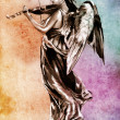 Sketch of tattoo art, angel with violin over colorful background - Stock Photo