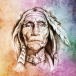 Sketch of tattoo art, portrait of american indian head over colo — Stock Photo