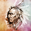 Sketch of tattoo art, American Indian Chief illustration over co - Photo