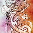 Royalty-Free Stock Photo: Tattoo art, sketch of a japanese dragon over colorful paper