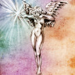 Sketch of tattoo art, fairy angel, nude woman over colorful pape - Stock Photo