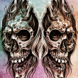 Sketch of tattoo art, skull head illustration, over colorful pap - Stock Photo