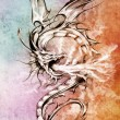 Sketch of tattoo art, stylish dragon illustration over colorful — Stock Photo #9942612