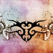Tattoo art design, tribal with two nymphs on each side — Foto Stock
