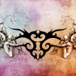 Tattoo art design, tribal with two nymphs on each side - Stock Photo
