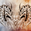 Tattoo art, fantasy medieval dragons heart - Stock Photo