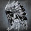 Tattoo art, portrait of american indian head over dark backgroun - Stock Photo