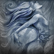 Nude mermaid illustration in blue colors with shine effects - Stock Photo