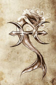 Tattoo art, sketch of a mermaid, pisces vintage style — Stock Photo