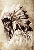 Sketch of tattoo art, indian head, chief, vintage style — Stock Photo