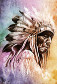 Sketch of tattoo art, indian head — Stock Photo