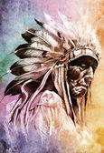 草绘的纹身艺术,印第安头 — 图库照片