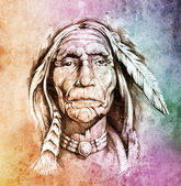 Sketch of tattoo art, portrait of american indian head over colo — Photo