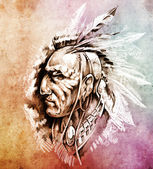 Sketch of tattoo art, American Indian Chief illustration over co — Stock Photo