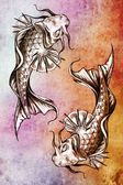 Sketch of tattoo art, japanese goldfish over colorful paper — Stock Photo