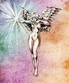 Szkic sztuka tatuaż, anioły baśniowy, kobiety nago na kolorowy pape — Zdjęcie stockowe