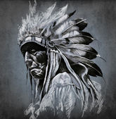 Tattoo art, portrait of american indian head over dark backgroun — Stok fotoğraf