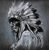 Tatuaz sztuki, portret american indian głowy nad ciemny deseń — Zdjęcie stockowe